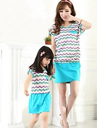Family's Fashion Leisure Mother Daughter Wave Pattern Dress