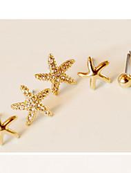 mengnanfeng fashion legering stud oorbellen (3 paar oorbellen) -35