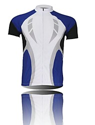 XINTOWN Men 's Contracted Breathable Polyester Short Sleeve Cycling Jersey—White+Blue