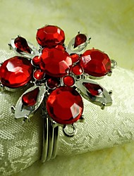 Red Crystal Flower Napkin Ring,Acrylic Beades, 4.5CM, Set of 12,