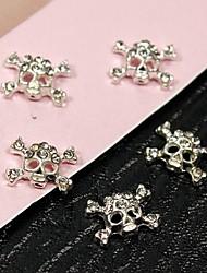 10шт панк черепа ясный кристаллический стразами 3d сплав ногтей украшения
