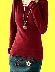 Women's Black/Pink/Red Pullover/Cashmere , Bodycon/Casual Long Sleeve