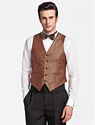 Brown Polyester Tailored Fit Vest