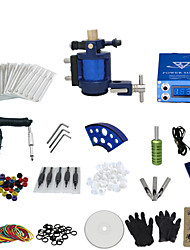 1 Gun Complete No Ink Tattoo Kit with Aluminium Motor Tatoo Machine and Lcd Screen Blue Power Supply