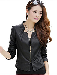Pengke Women's Casual Pu Leather Jacket