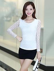 Zian® Women's Round Neck Casual Fashion Lace Chiffon Gentlewoman Temperament Shirt