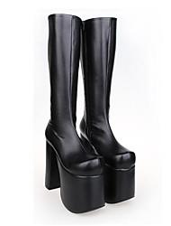 zapatos de cuero de la PU negro 15 cm de tacón alto del punk lolita con fila