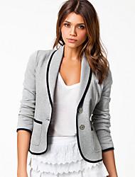 E.9 женщин всего матча отворот шея длинный рукав пальто