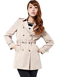 elegante doppio pulsante cappotto delle donne zyqy (mandorla)