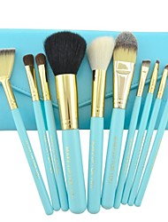 Make-up For You®10pcs Makeup Brushes set Horse/Pony/Goat Hair Professional/Limits bacteria Blue Powder/Foundation/Blush brush Shadow