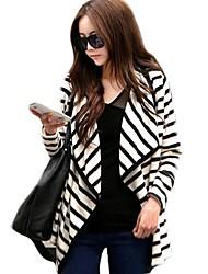 Women's Cardigan Long Sleeve Cotton Blouse Jacket Stripe Coat Top Cardigan Outerwear