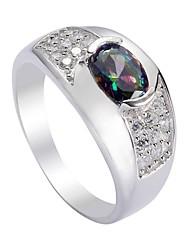 Fashion 925 Sterling Silver Rainbow Cubic Zirconia Ring