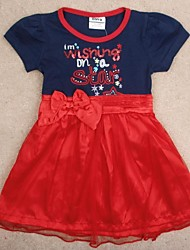 Children's Dress Red Dress With Bow Seqiun Letter Embroidery Short Sleeve Dress Cute Dresses Random Print