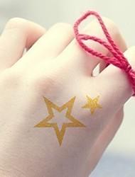 2Pcs Solid Hollow Stars Gold Glitter Tattoo Stickers Temporary Tattoos