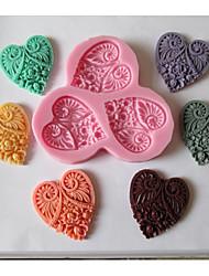 três flores de coração molde do bolo em forma de cozimento fondant de chocolate, l11cm * W10cm * h1cm