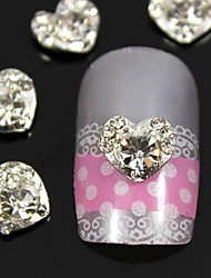 10pcs 3d coração de strass acessórios pontas do dedo jóias da arte do prego decoração