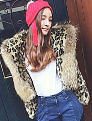 cuello de solapa abrigo de imitación piel de las mujeres hansifei