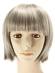 Capless Mix Color (Silver And Brown) Medium Straight Wigs Full Bang