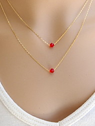 Shixin® Fashion Double Chain Red Crystal Pendant Necklace(1 Pc)