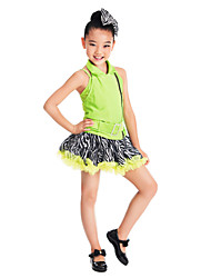 Jazz Dancewear Kids' Backless Zebra Print Satin & Spandex Jazz/Modern Dance Dress