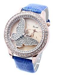 Caixa de relógio de luxo diamante borboleta padrão ouro pu banda de pulso de quartzo analógico das mulheres (cores sortidas)