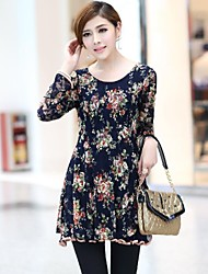 Women'S Printed Long Sleeve Lace Dress