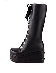 botas de couro sapatos de qq forma de cunha do calcanhar das mulheres mais cores disponíveis