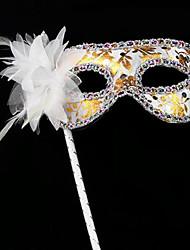 Венеция стиль белый ПВХ женщин Хэллоуин маска партии с пером цветок