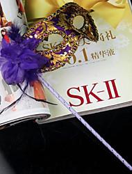 Венеция стиль фиолетовый пвх женщин Хэллоуин маска партии с пером цветок