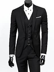Men's Solid Black Gray Blue Suits, Formal Blazer And Pant(Vest Excl)