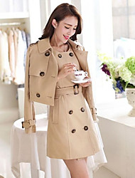 Women's Round Autumn Winter Twinset Slim Trench Midi Coat