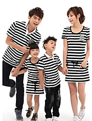 Family's Fashion Joker Leisure Parent Child Short Sleeve T Shirt And Dress
