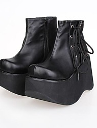 Black PU Leather 10CM Platform Punk Lolita Shoes