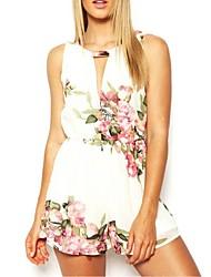 noir / blanc floral impression combinaisons des femmes, sans manches micro-élastique sexy