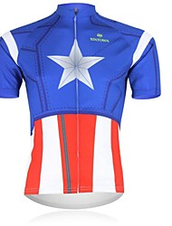 XINTOWN Men 's Little Stars Breathable Polyester Short Sleeve Cycling Jersey -Blue+Red