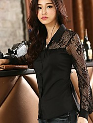 XinYuanGe® Women's Turn-Down Collar Lace Long Sleeve Casual Tops Blouse Shirts