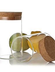 Calor 300ml de vidro transparente de grande calibre resistente vasilha de armazenamento, 11x6.5x11cm