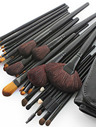 32pcs Makeup Brushes set Horse/Pony/Goat Hair Professional Black Foundation/Blush brush Shadow/Eyeliner/Lip/Brow/Lashes Brush With Free Case
