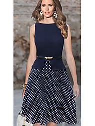 BALI Fashion Sleevless Round Contrast Color Polka Dots Dress
