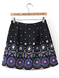 Women'S Ethnic Flower Print Loose Chiffon Skirt