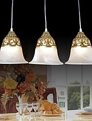 Bronze Pendant Three Lights Moire-Glass European Classic 220V