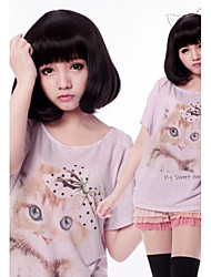 Zipper Cute Girl Black Short Bob Classic Lolita Wig