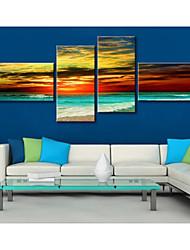 arte da lona esticada belas paisagens à beira-mar conjunto de 4