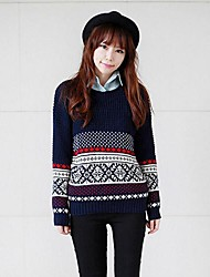 Women's Autumn Vintage Preppy Chic with Snowflakes Round Collar Long Sleeve Pullover Sweater