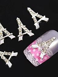10шт серебро Эйфелева башня DIY аксессуары Rhinestone украшения искусства ногтя
