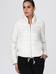 Oxygene Monde® Women's PU & Rib Long Sleeve Adjustable Hem Quilted Padded Jacket