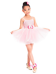 Kids' Dancewear Dresses Children's Training Spandex / Tulle Bow(s) Sleeveless Natural