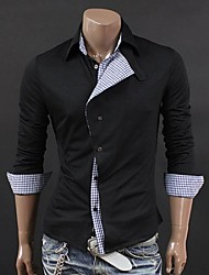 Lesen Men's Shirt Collar Fashion Personality Oblique Placket Casual Long Sleeve Shirt O