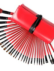 30PCS Red Handle Makeup Brush Set with Red Ribbon Pouch