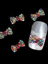 10pcs  Colorfull Rhinestone Bow Tie Alloy Accessories Finger Tips Nail Art Decoration